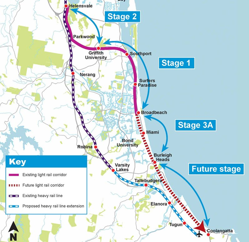 proposed route gold coast light rail - stage 3