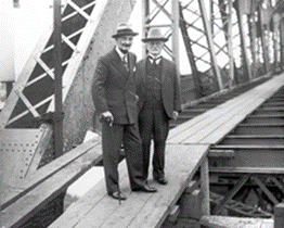 Governor of Queensland Sir Leslie Wilson and consulting engineer Bradfield inspecting the bridge, 7 July 1938